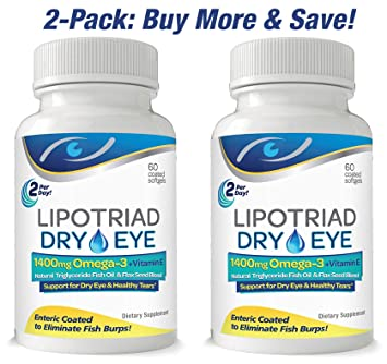 Lipotriad Dry Eye Formula - 1400mg Omega-3 Supplement –Natural Triglyceride Fish Oil +