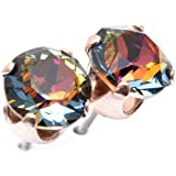 pewterhooter 18ct Rose Gold on 925 Sterling Stud Earrings expertly Made with Volcano Crystal from Swarovski®. London Box