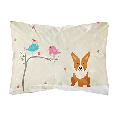 Caroline's Treasures BB2572PW1216 Between Friends Corgi Canvas Fabric Decorative Pillow, 12H x16W, Multicolor : Garden & Outdoor