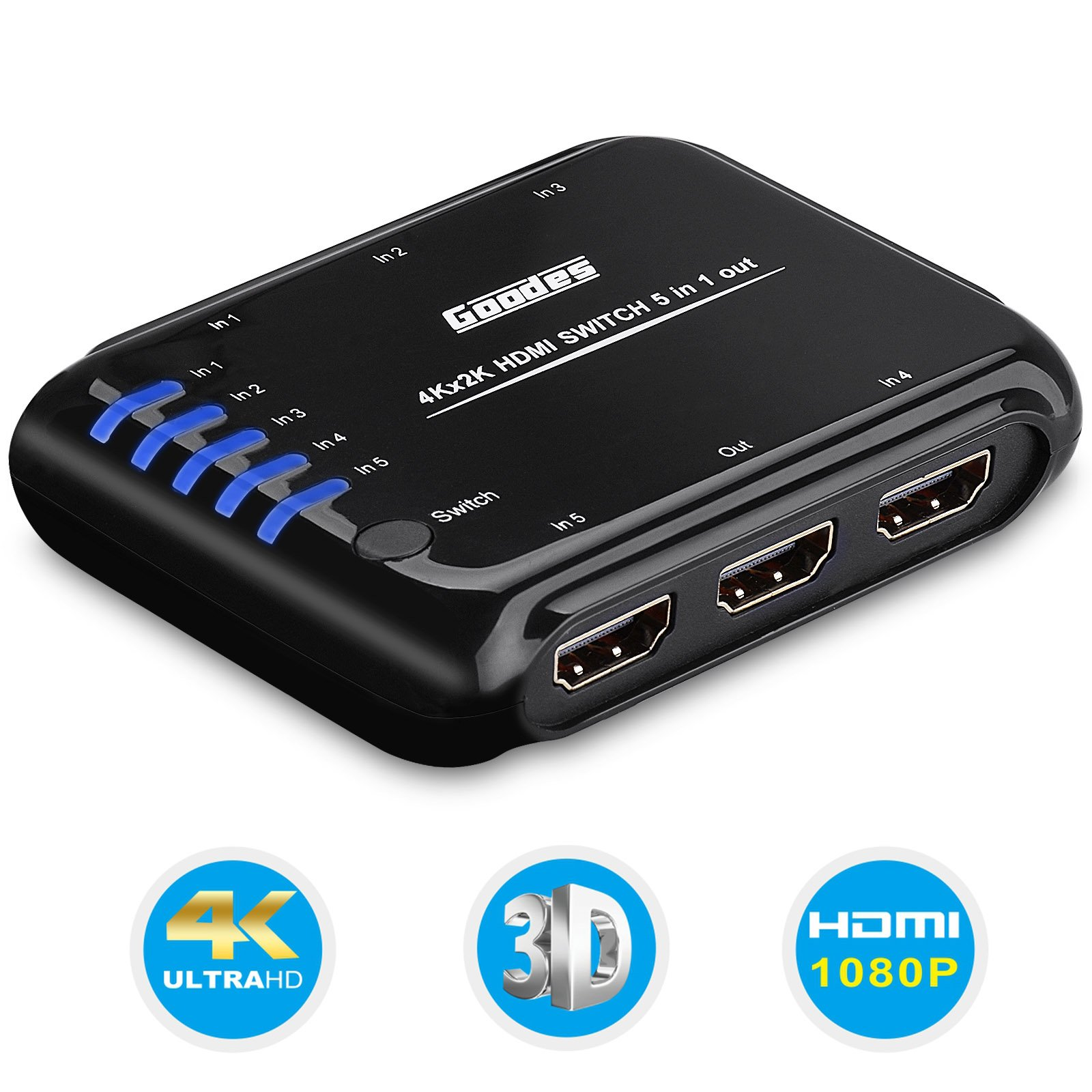 5X1 HDMI Switch Box - Goodes 4K 5 Port HDMI Switcher with Remote Control and AC Power Adapter HDMI Hub Splitter Support 4Kx2K 3D for TV PS4 XBOX One Roku4