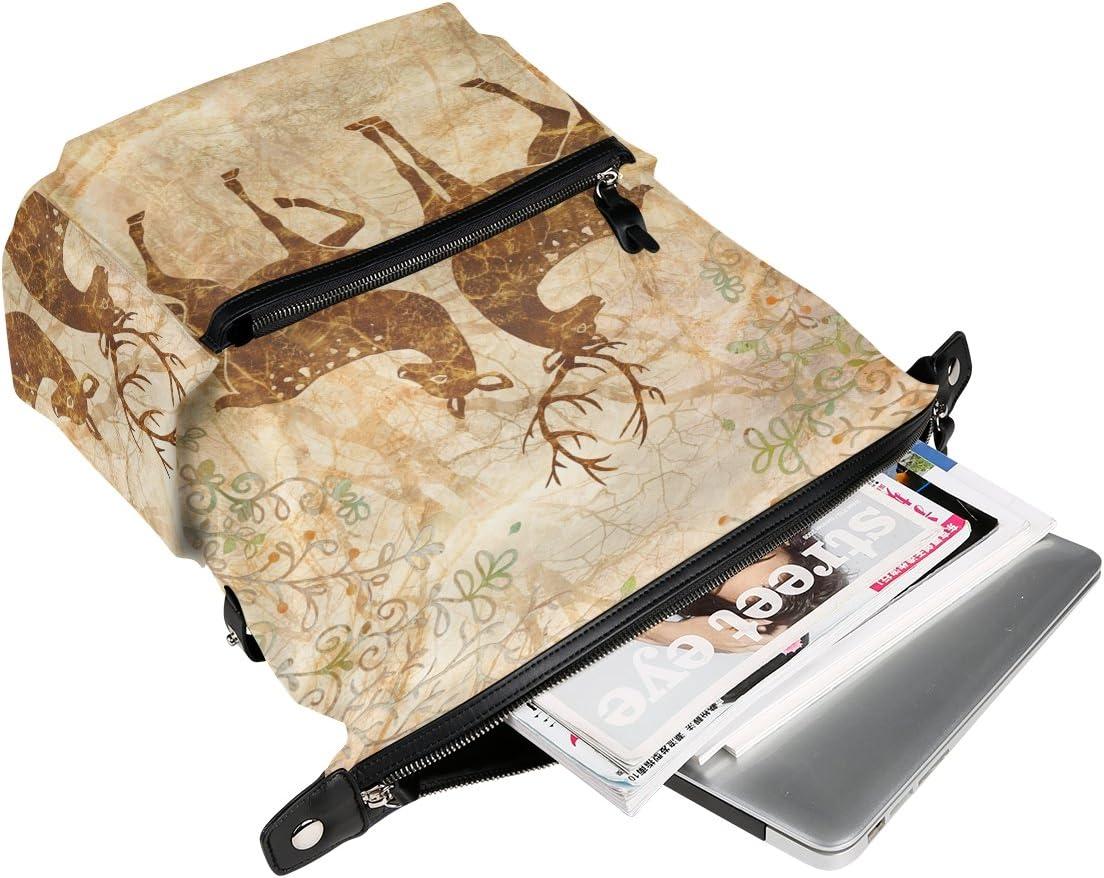 Laptop Backpack Lightweight Waterproof Travel Backpack Double Zipper Design with Elk In The Forest School Bag Laptop Bookbag Daypack for Women Kids