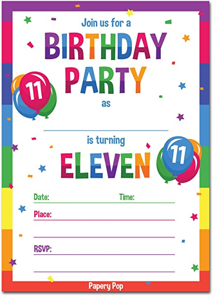 11th Birthday Party Invitations With Envelopes 15 Count