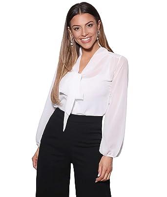 KRISP Damen Elegante Chiffon Bluse mit Ausschnitt Schleife Verschiedene  Muster  Amazon.de  Bekleidung 5766b5176d