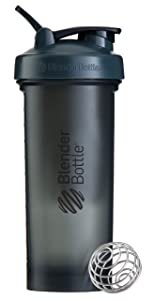 BlenderBottle Pro45 Extra Large Shaker Bottle, Grey/Black, 45-Ounce