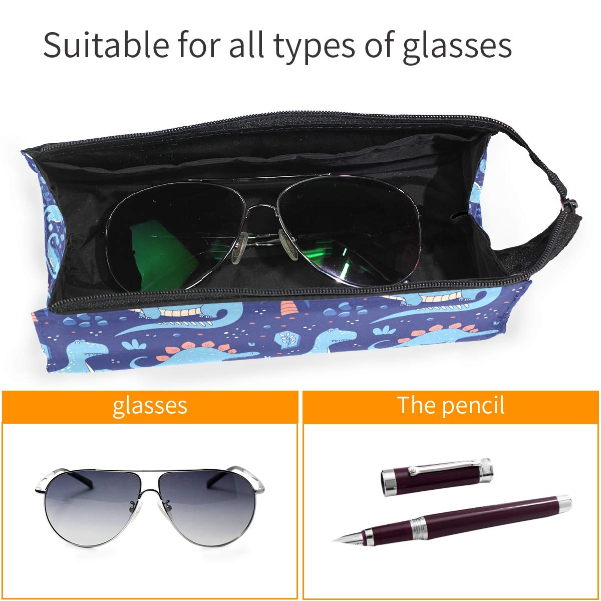 My Little Nest Eyeglass Sunglasses Holder Pouch Bag Blue Dinosaurs Multi Function Zipper Pen Case Pencil Bag Organizer