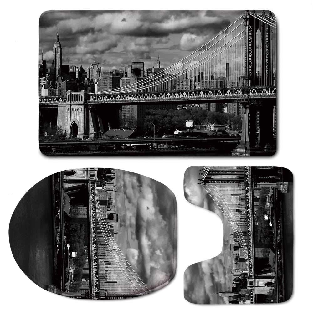 YOLIYANA New York Simple Bathroom 3 Piece Mat Set,Black and White Panorama of New York City Skyline with Focus on Manhattan Bridge Photo for Living Room,F:20'' W x31 H,O:14'' Wx18 H,U:20'' Wx16 H