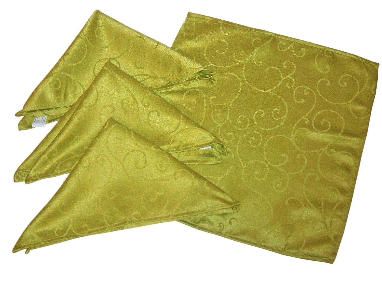 45cm x 45cm Pack Of 4 Lime Green Damask Napkins (DA4)   B004APGUF0