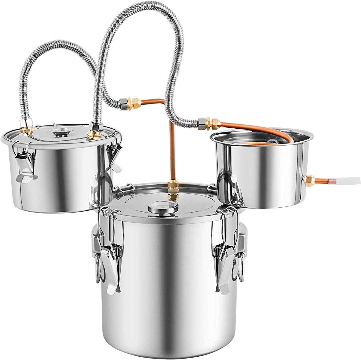 Marada Moonshine Still Water Alcohol Distiller 5 Gal with 3 Pots DIY Whiskey Wine Brandy Still Stainless Steel with Copper Tube Home Brew Wine Making Kit with Thumper Keg