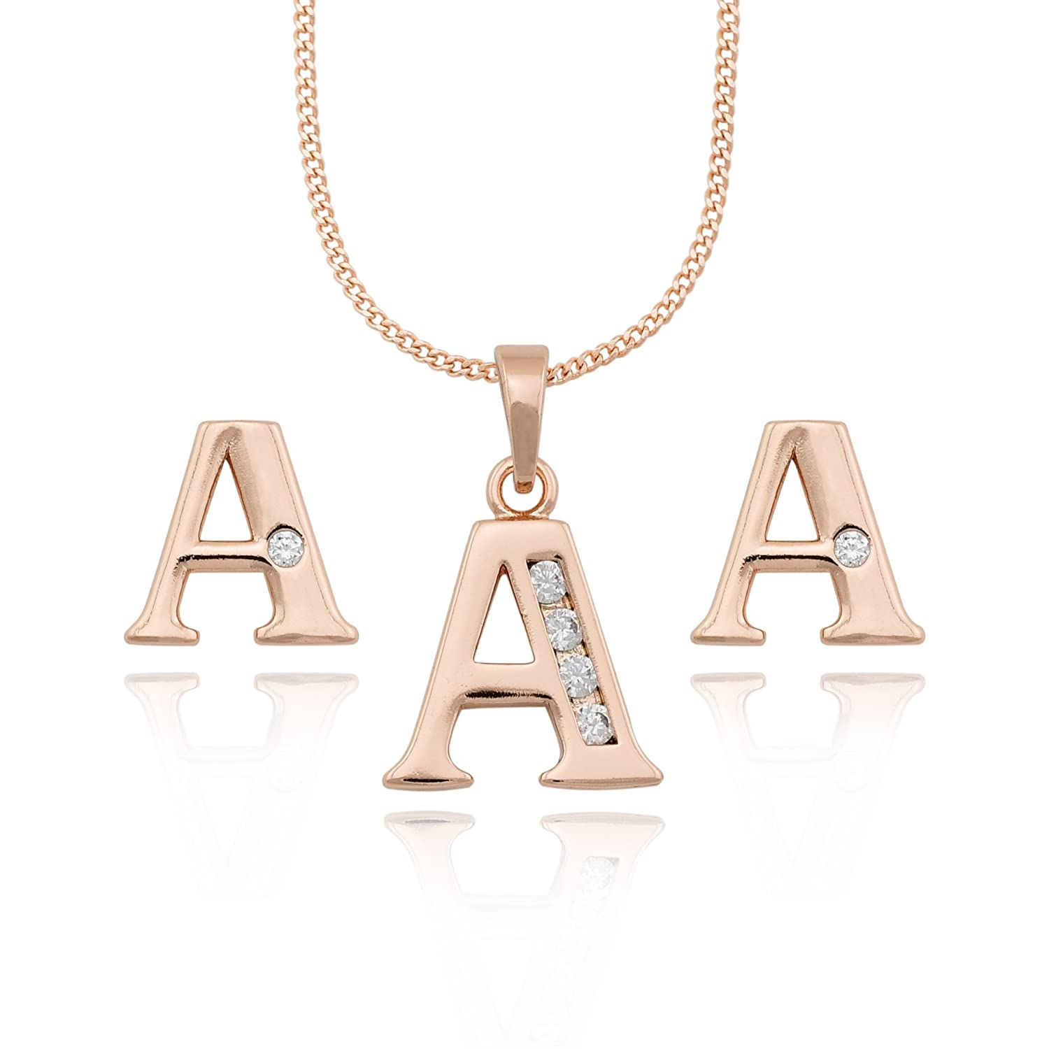 d412152c4781 Amazon.com  Rose Gold Plated 18K Initial A Set Necklace Pendant Stud  Earrings CZ Cubic Zirconia by Olivia Star Jewelry  Jewelry