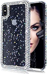 Jesiya for iPhone Xs/iPhone X/iPhone 10 Case 3D Stars Stardust Glitter Sparkle Bling Case Luxury Shiny Crystal Rhinestone Diamond Clear Protective Case Cover for iPhone Xs/iPhone X/iPhone 10