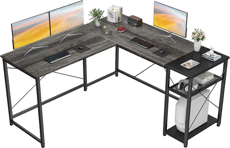 Homfio L Shaped Desk Computer Office Desk with Shelves Corner Computer Desk Large Gaming Table Industrial Simple Desk Workstation for Home Office Study Writing Table, Black Oak and Black