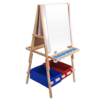 US Art Supply Cardiff Children's Art Activity Easel with Easel Paper Roll, 2 Large Storage Bins and Now 6 No-Spill Child's Paint Cups and Lids: Arts, Crafts & Sewing