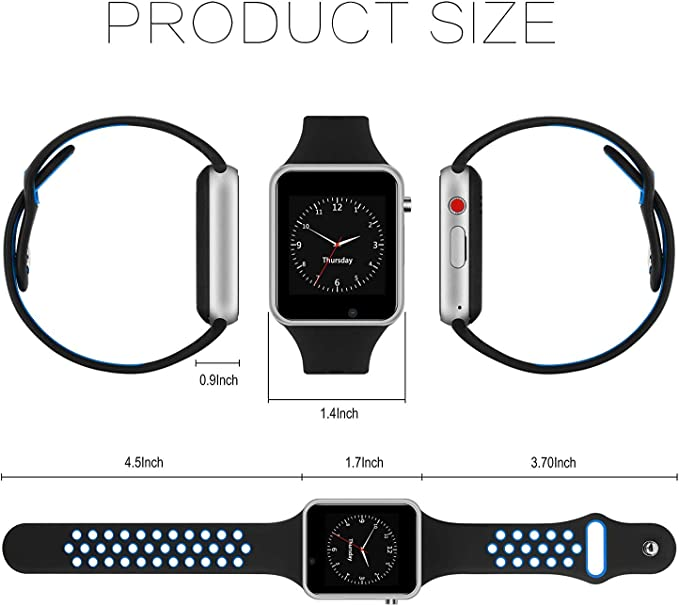 Smart Watch for Android,HongTu Waterproof Sport Smart Watches Touch Screen with Camera Pedometer SIM TF Card Slot with Compatible iOS iPhone X 8 7 6 ...