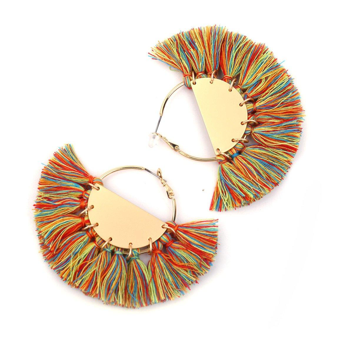 Badu Tassel Earrings for Women and Girl Rainbow Color Tassels Earring Gold Hoop Summer Jewelry (Color)