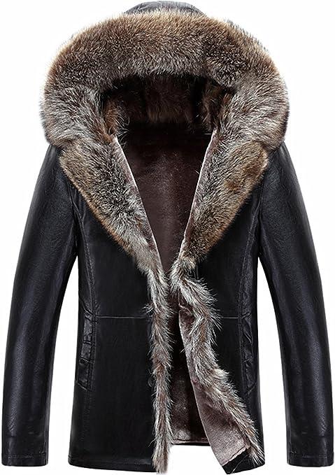 WS668 Herren Winter Warm Leder Mantel Lämmer Wolle Gefüttert