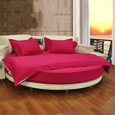 Juego de sábanas de algodón 100% con cama redonda Juego de 4 sábanas de algodón con sábanas Funda de edredón ...