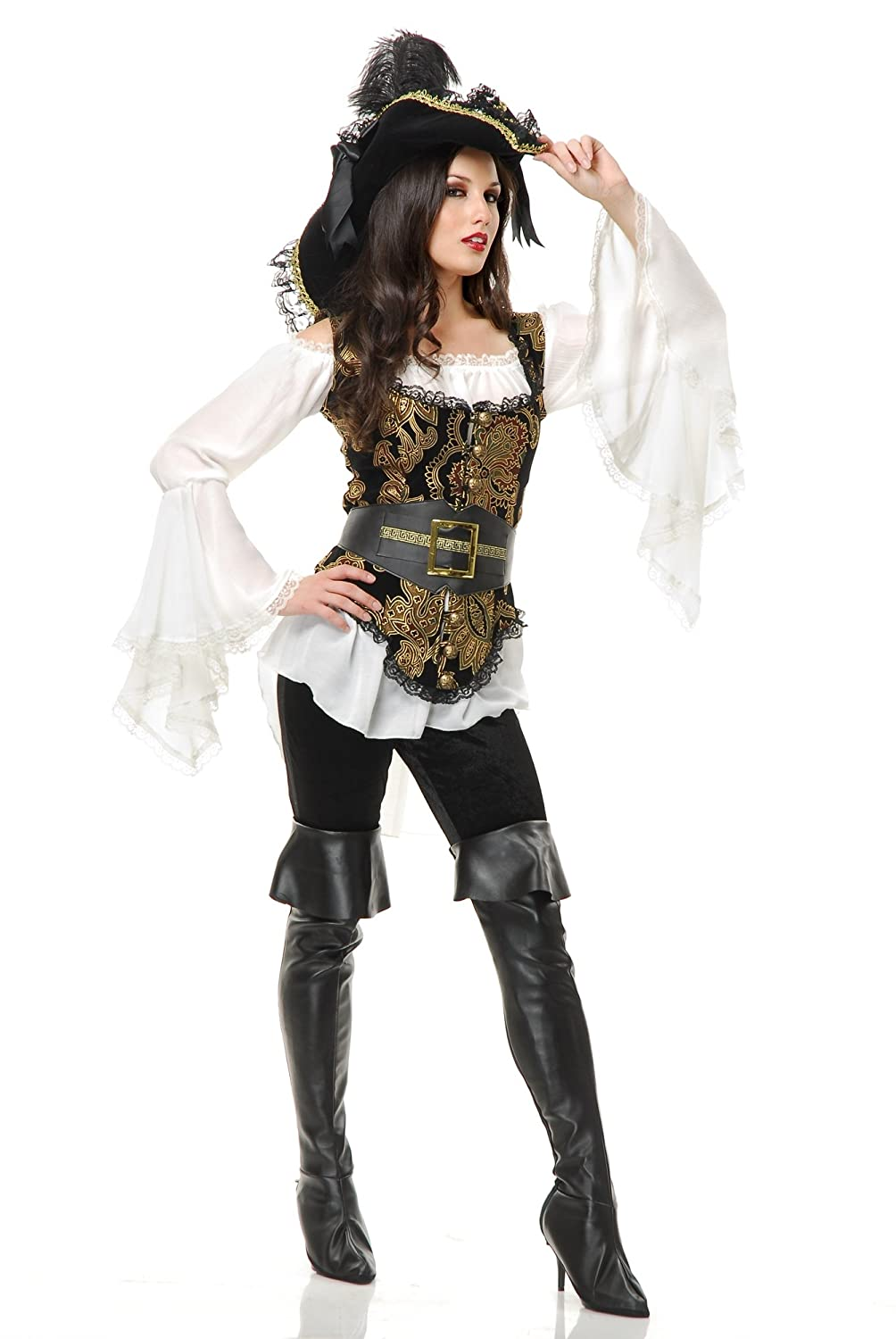Women's Pirate Lady Black & Gold Vest, Blouse, and Belt Costume Set - DeluxeAdultCostumes.com