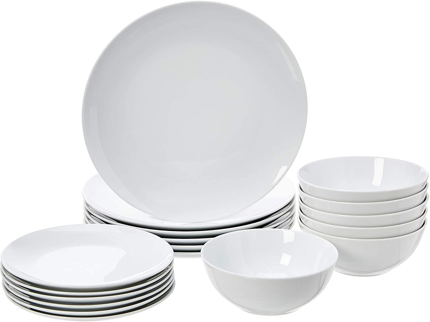 Amazon Basics 18-Piece Kitchen Dinnerware Set, Plates, Dishes, Bowls, Service for 6, White Porcelain Coupe