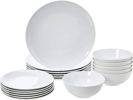 Amazonbasics 18 Piece Kitchen Dinnerware Set Dishes Bowls Service For 6 White Porcelain Coupe Amazon Ca Home