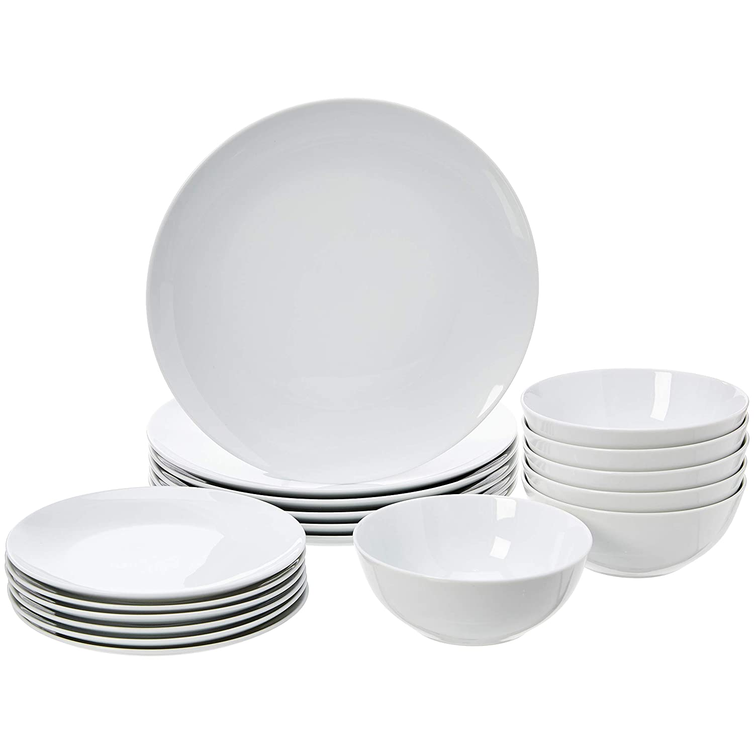 AmazonBasics 18-Piece Dinnerware Set - White Porcelain Coupe, Service for 6