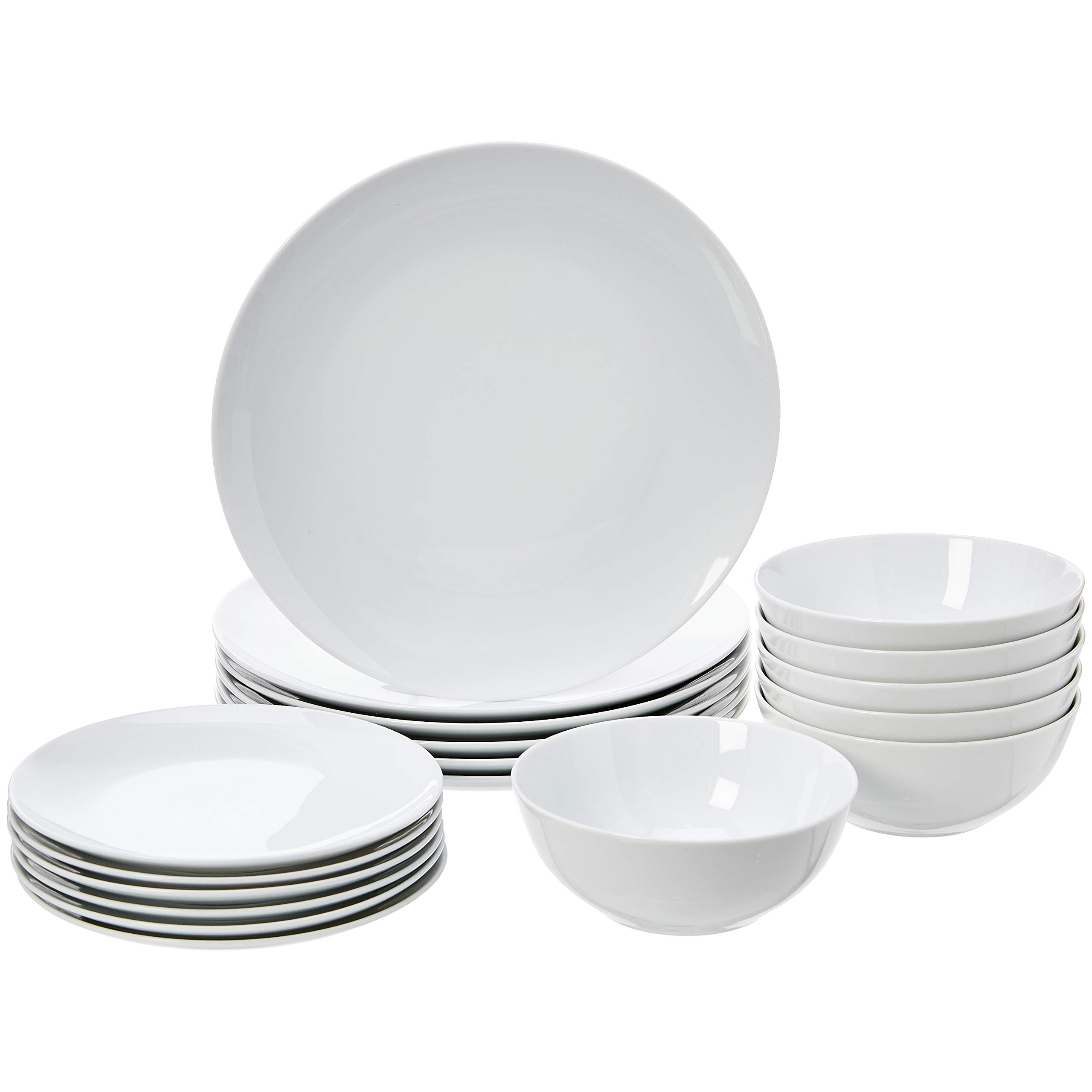 AmazonBasics 18-Piece Kitchen Dinnerware Set, Dishes, Bowls, Service for 6, White Porcelain Coupe by AmazonBasics (Image #1)