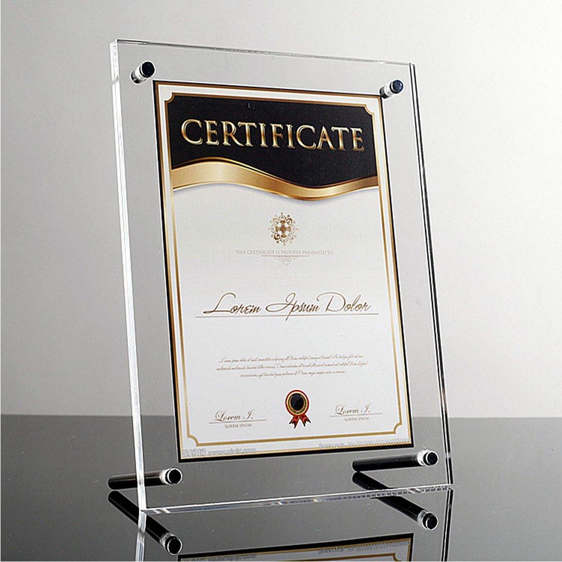 transparente acr/ílico Levoberg marco de fotos de cristal efecto Espejo marco de mesa decoraci/ón hogar oficina A4