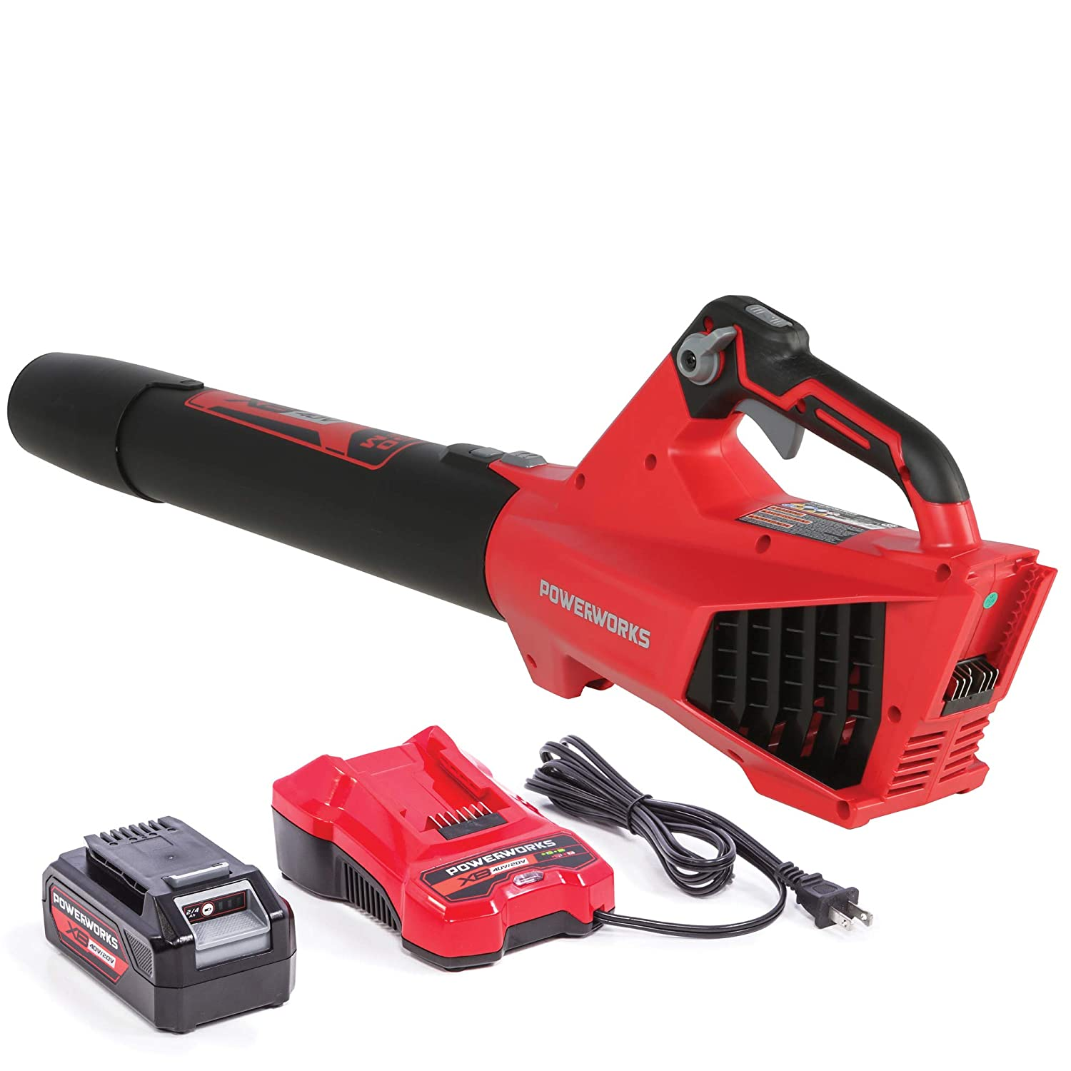 POWERWORKS XB 40V Cordless Axial Leaf Blower, 120 MPH 450 CFM, 2Ah Battery and Charger Included BLP302, Red Black