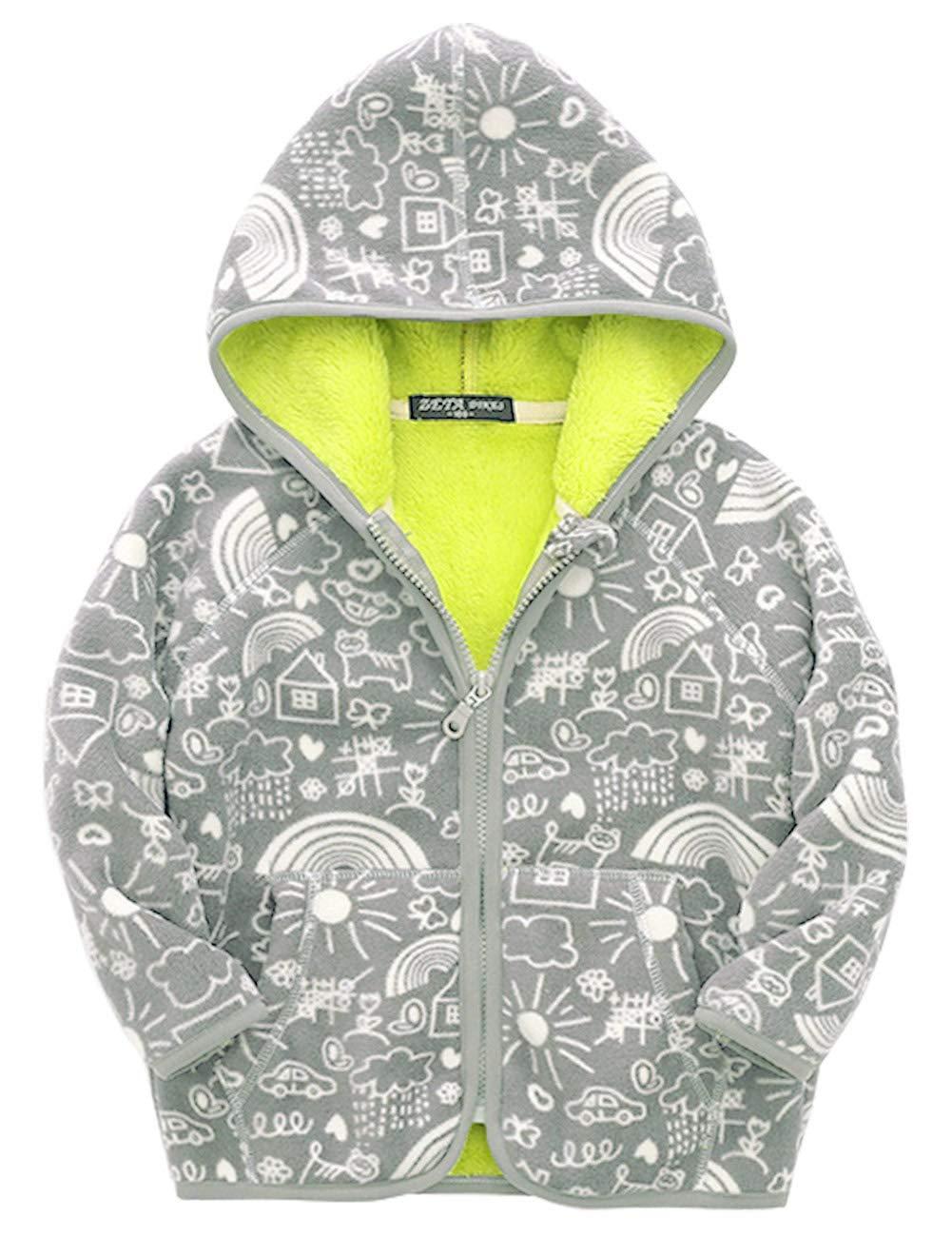 d7453397cb73 ZETA DIKES Baby Boys Polar Fleece Coat Long Sleeve Hoodie Cartoon Pattern  Jacket with Pocket for 7-8T Kids