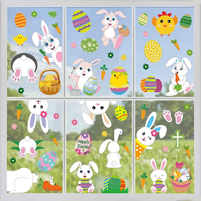 Tifeson Easter Decorations Bunny Window Clings Decor - 85 PCS Easter Egg Bunny and Chick Carrot Window Stickers Decals for Home, Office, Kids School Party Decorations Supplies