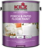 KILZ Interior/Exterior Enamel Porch & Patio Latex Floor Paint, Low-Lustre, Silver Gray, 1 gallon