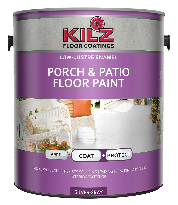 Amazon.com: KILZ Interior/Exterior Enamel Porch U0026 Patio Latex Floor Paint,  Low Lustre, Silver Gray, 1 Gallon: Home Improvement