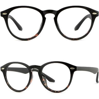 Amazon.com: Round Mens Womens Plastic Frames Glasses Sunglasses ...