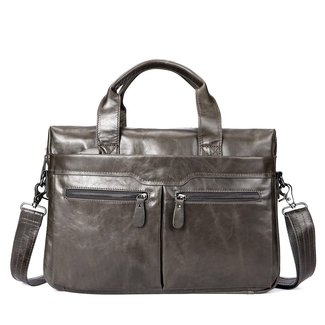 Genuine Leather Briefcase Messenger Business Bags Laptop Handbag for Men 14'' (Grey)