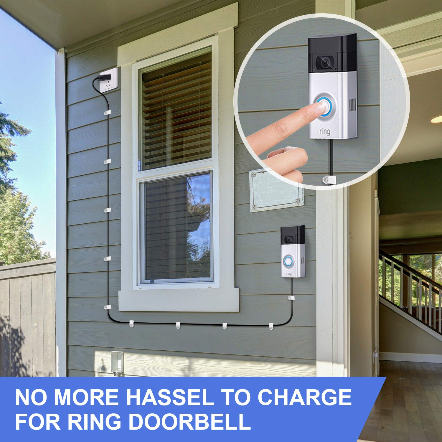 Power Supply Adapter Charger for Ring Doorbell 1 Power Adapter and 16 ft// 5 m Charge Cable Compatible with Ring Video Doorbell 1 to Continuously Power Your Doorbell