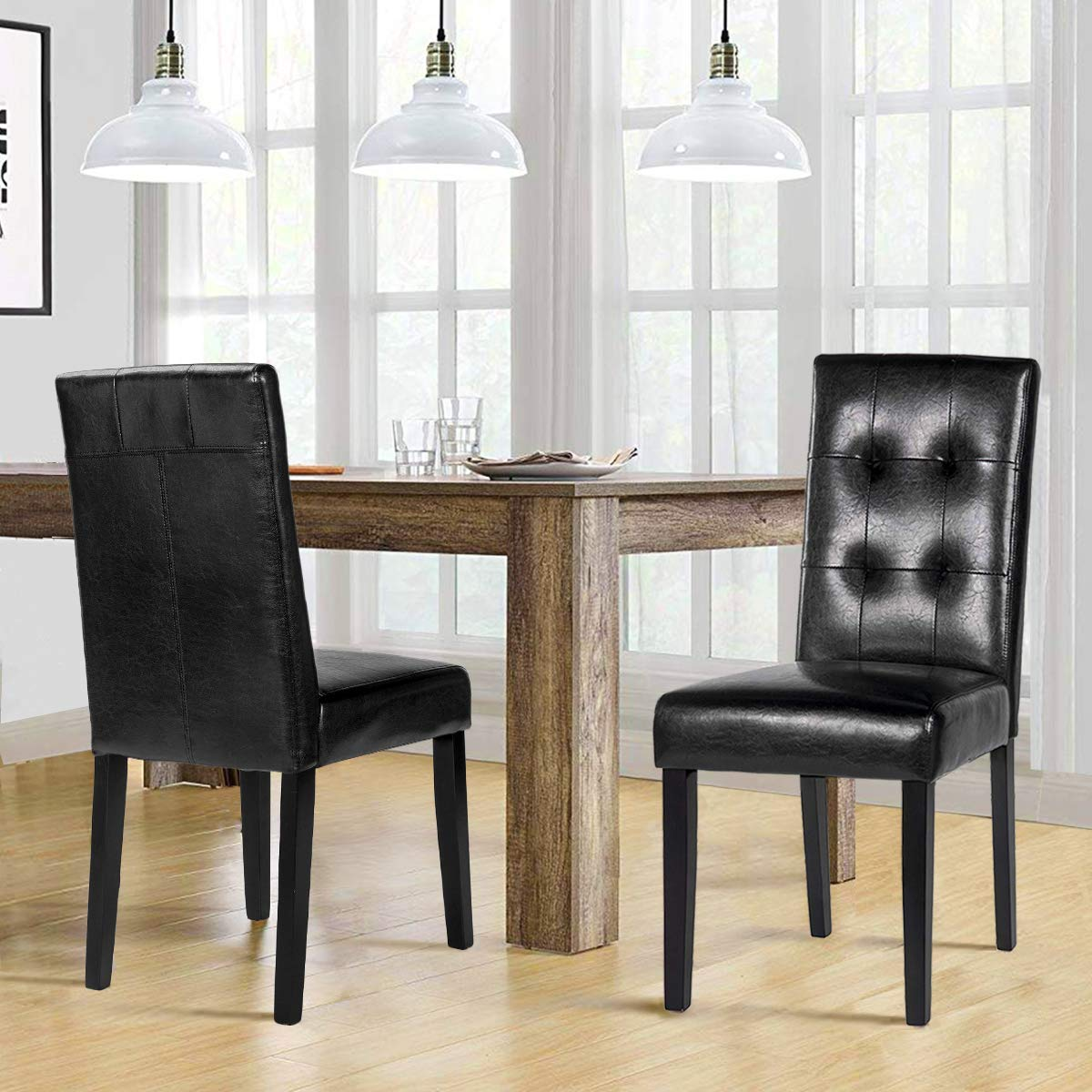 Merax Black PU Dining Chair Leisure Chair with Solid Wood Legs, Set of 2