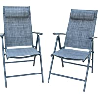 PatioPost Outdoor Folding Chair with Armrest Adjustable Reclining Lawn Chair Folding Aluminum with 7 Stalls, Outdoor & Indoor for Patio, Backyard, Poolside, Lawn Set of 2 - Grey