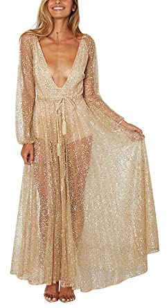 848b98ae92e5 Lusiisss Women's Sexy Gold V-Neck See Through Sequin Long Sleeve Formal  Party Maxi Dress