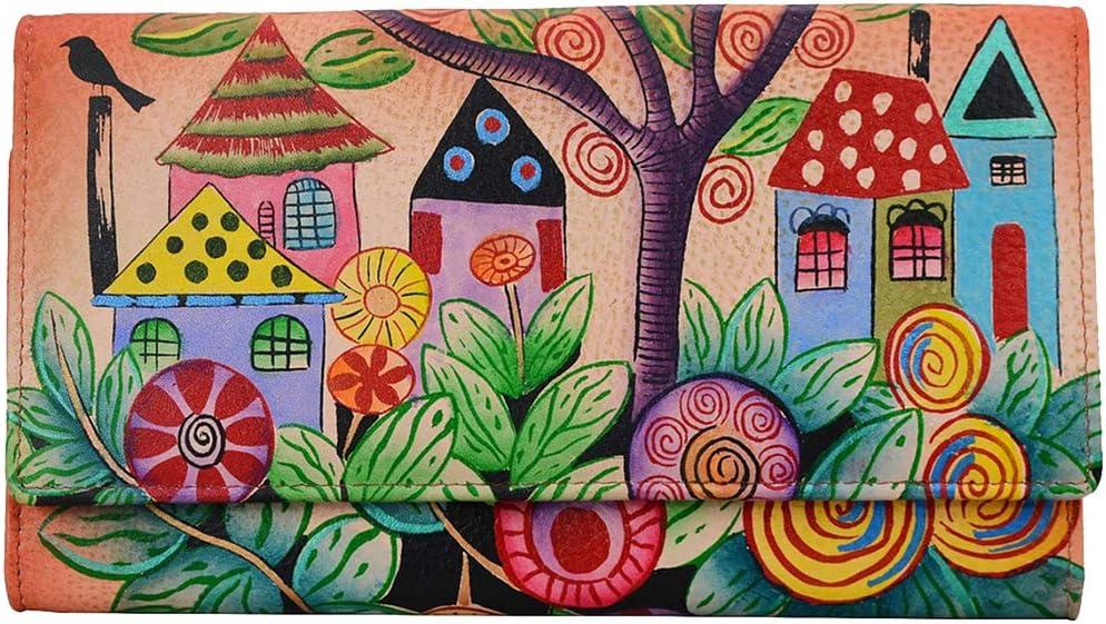 Anna Anuschka Handpainted Trifold Wallet Id Window Credit Card Coin Many Bill Pockets - (Village of Dream)