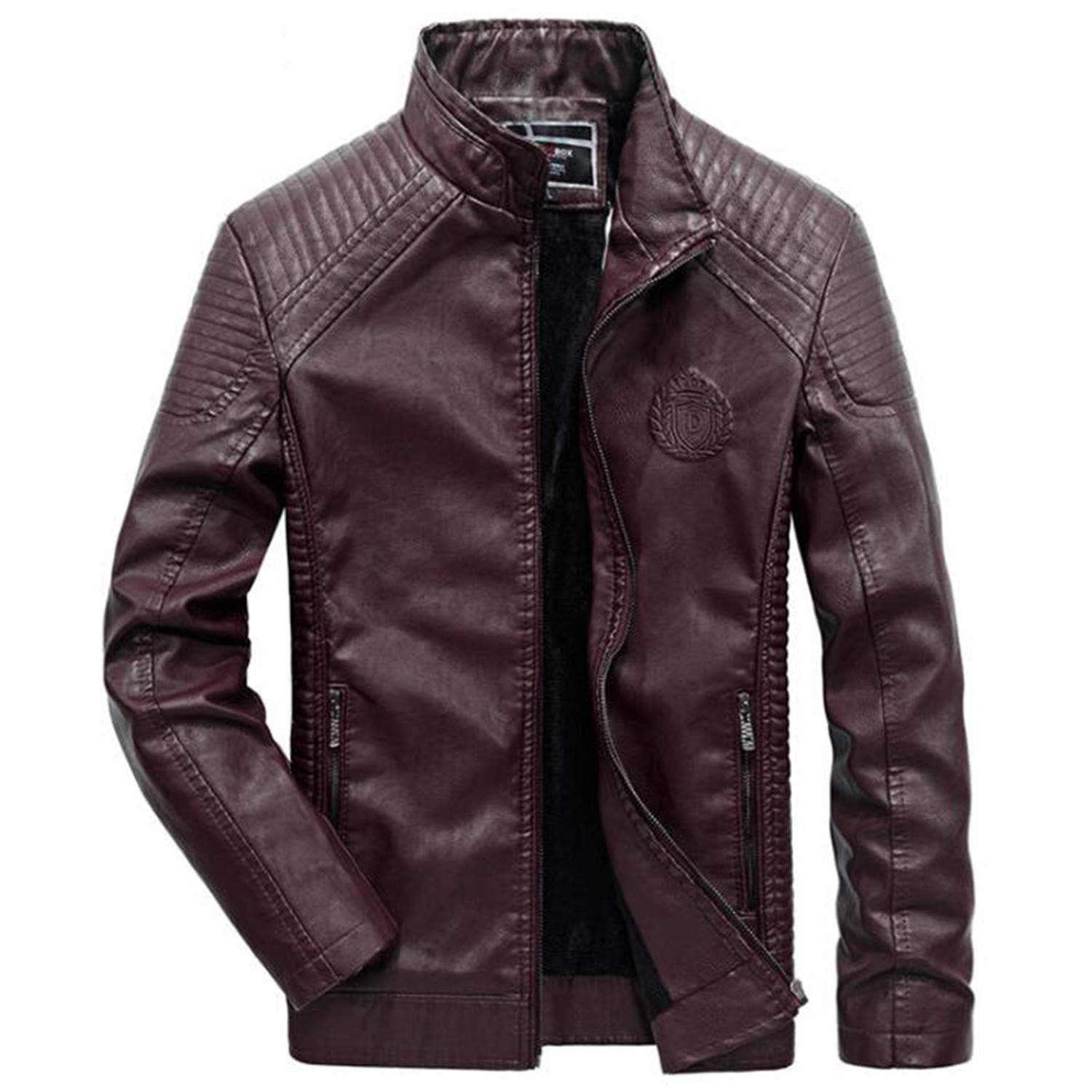 Amazon.com: 2019 Warm Style Leather JacketSlim Fit Pu Biker ...