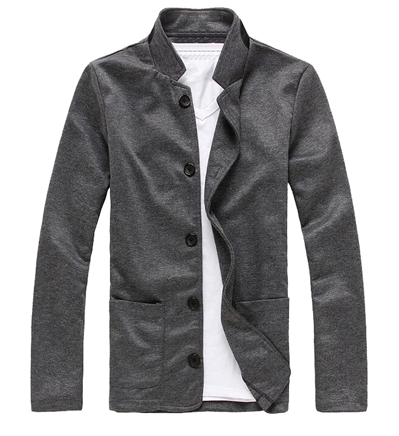 XQS Mens Hipster Thicken Quilted Stand Collar Front-Zip Loose Fit Down Jacket Coat