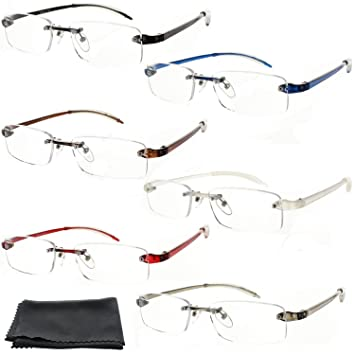 1d3360013afb Fiore® Feather Flex New   Improved 6 Pack Clear Rimless Reading Glasses  TR90 Flexible Arms