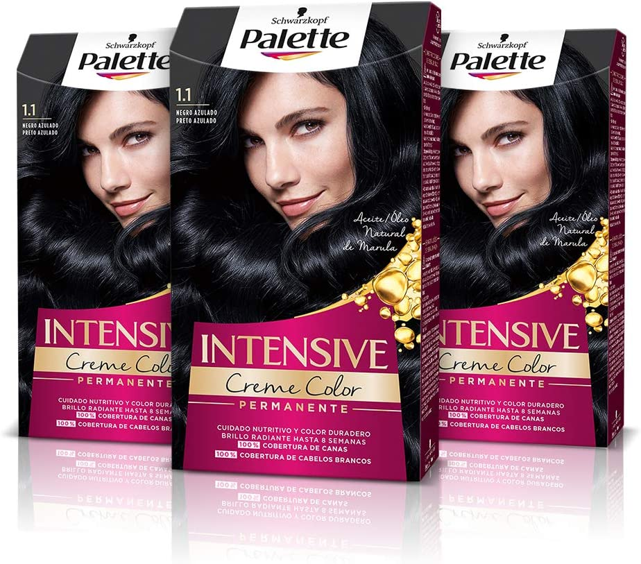 Palette Intense Cream Coloration Intensive Coloración del Cabello 1.1 Negro Azulado - Pack de 3