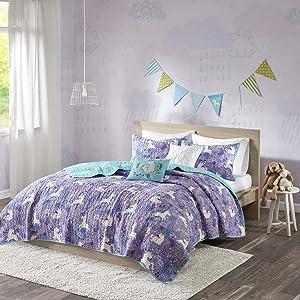 Urban Habitat Kids Lola Twin/Twin XL Bedding for Girls Quilt Set - Purple, Aqua, Unicorns – 4 Piece Kids Girls Quilts – 100% Cotton Quilt Sets Coverlet