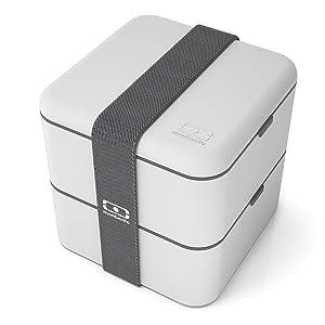 monbento 1200 13 110 MB Square Bento-box-style lunchbox, 5.5x5.5x5.5, Coton