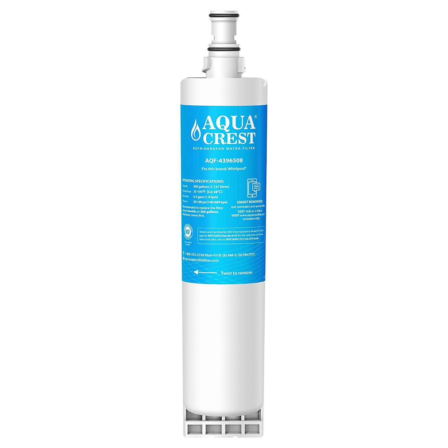 AQUACREST 4396508 Refrigerator Water Filter, Compatible with Whirlpool 4396508 4396510 EDR5RXD1, EveryDrop Filter 5, Kenmore 46-9010, PUR W10186668, NLC240V