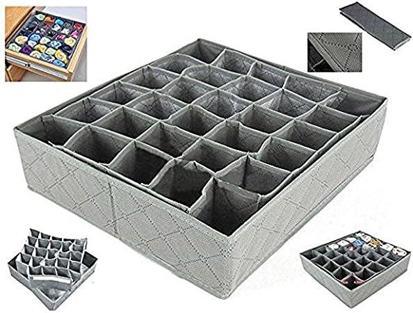 Dosige Gris Tela sin tejer Caja de almacenamiento cajas de almacenaje para sujetadores ropa interior lencería Calcetines y otros pequeños accesorios(30 unidades): Amazon.es: Hogar