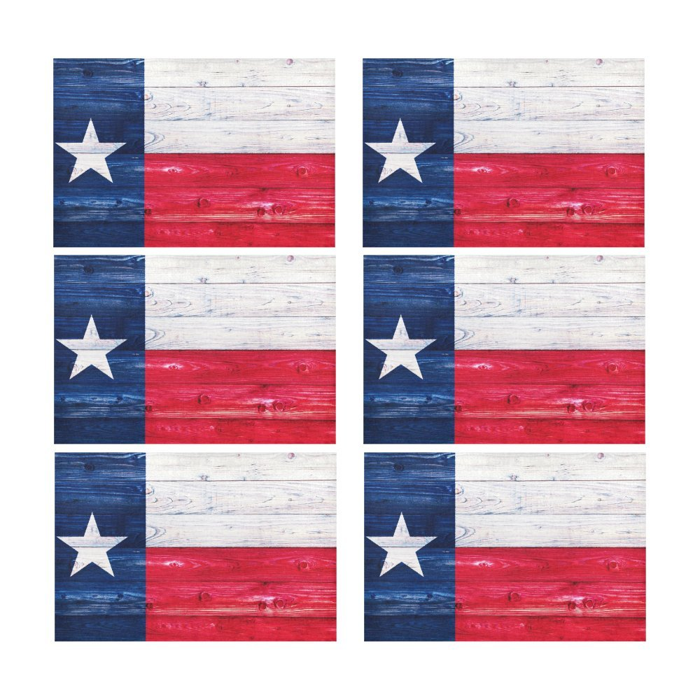 InterestPrint American State Flag Wood Texas Flag Washable Fabric Placemats Set of 6 Heat Insulation Dining Table Mats Non-slip Washable Place Mats, 12 x 18 Inches by InterestPrint (Image #2)
