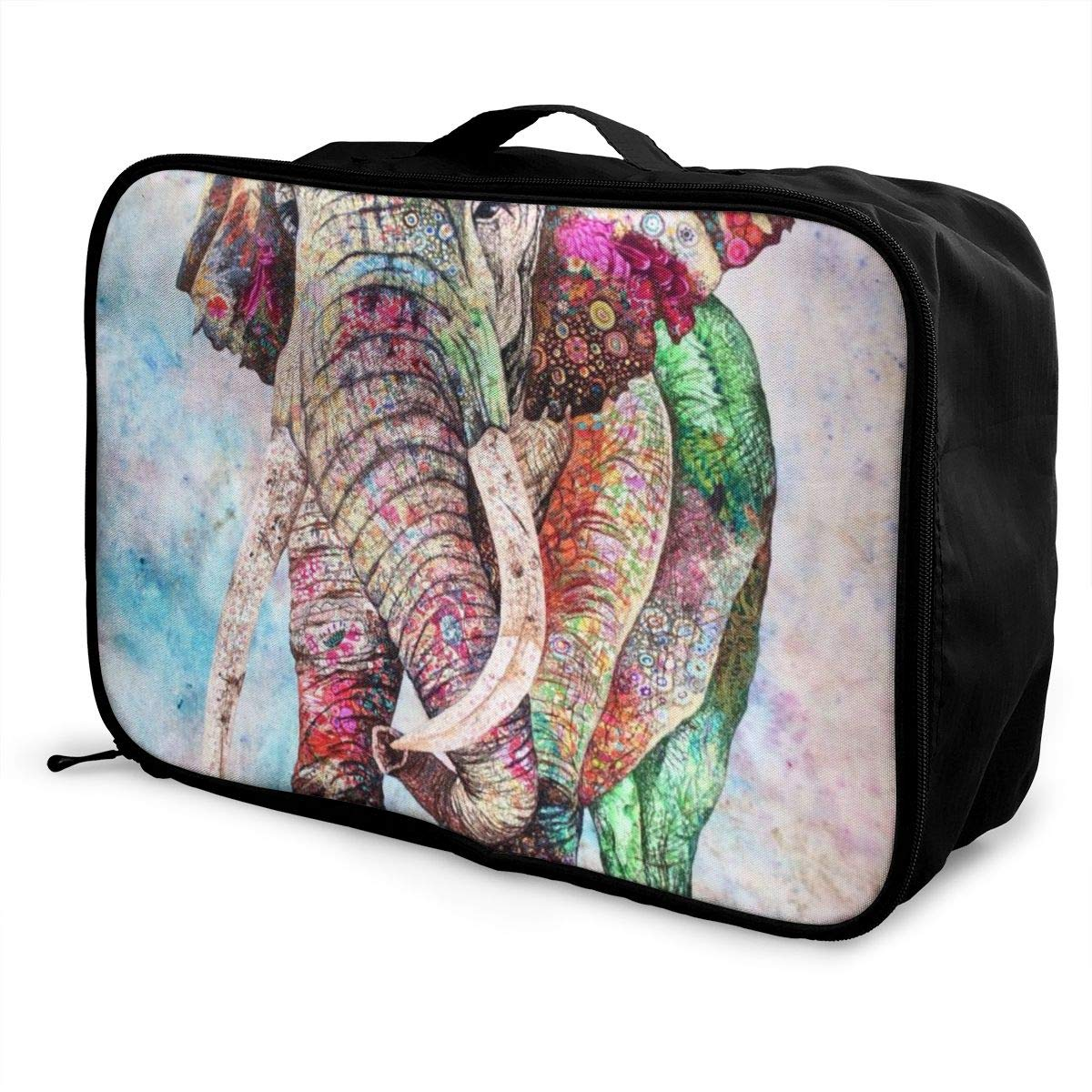 Colorful Floral Elephant Travel Lightweight Waterproof Folding Storage Portable Luggage Duffle Tote Bag Large Capacity In Trolley Handle Bags 6x11x15 Inch