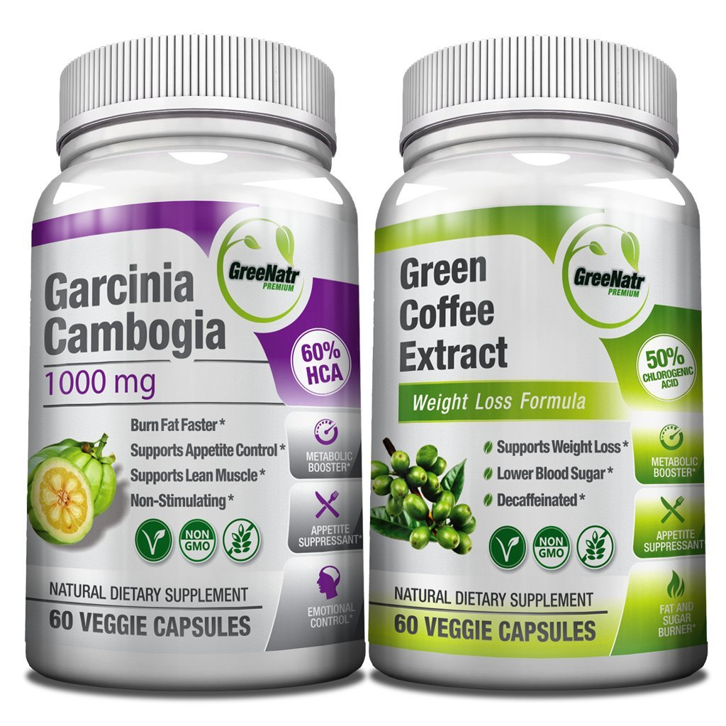 All-in-One Weight Diet Loss Pills & Appetite Suppressant Bundle w/Pure Green Coffee Bean Extract + Garcinia Cambogia Extract | Blocks Fat, Sugar, Carbs - 120 Veggie Capsules - Gluten Free & Non GMO by GreeNatr