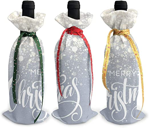 3 Pack Wine Bottle Bags Gift Bags Christmas Lettering On Snowflake ...